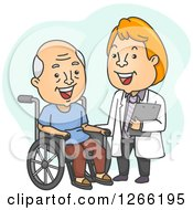 White Senior Male Patient In A Wheelchair Laughing With His Doctor