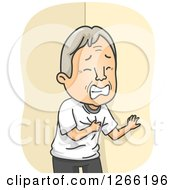 Clipart Of A White Senior Man Clutching His Chest While Having A Heart Attack Royalty Free Vector Illustration