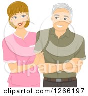 Clipart Of A Young White Nurse Helping A Senior Male Patient Royalty Free Vector Illustration