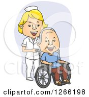 Happy Blond White Female Nurse Pushing A Male Patient In A Wheelchair