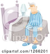 Clipart Of A Senior Man With Incontinence Sitting Up After Wetting The Bed Royalty Free Vector Illustration