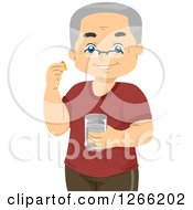Clipart Of A Happy Senior White Man Taking Vitamins Royalty Free Vector Illustration