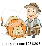 Clipart Of A Male Safari Man Kneeling And Petting A Lion Royalty Free Vector Illustration