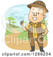Clipart Of A Safari Man Talking And Giving A Tour Royalty Free Vector Illustration by BNP Design Studio