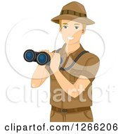 Clipart Of A Blond White Male Safari Man Holding Binoculars Royalty Free Vector Illustration