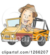 Clipart Of A Happy Brunette White Safari Man Driving A Truck Royalty Free Vector Illustration