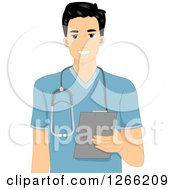 Clipart Of A Young Asian Male Nurse Holding A Clipboard Royalty Free Vector Illustration