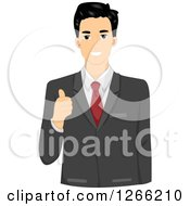 Clipart Of A Young Asian Businessman Holding A Thumb Up Royalty Free Vector Illustration