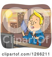 Clipart Of A Blond White Man Fanning Himself With A Folder In A Hot Office Royalty Free Vector Illustration