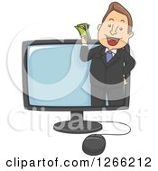 Clipart Of A Happy White Businessman Holding Cash And Emerging From A Computer Screen Royalty Free Vector Illustration