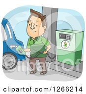 Clipart Of A Brunette White Man Filling Up His Car With Biofuel At A Gas Station Royalty Free Vector Illustration