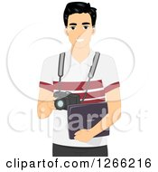 Clipart Of A Young Asian Photographer Holding A Camera And Laptop Royalty Free Vector Illustration