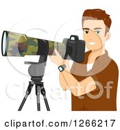 Clipart Of A Young Brunette White Wildlife Photographer Man With A Camera Royalty Free Vector Illustration
