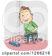 Clipart Of A Happy Brunette White Man Cleaning A Carpet Royalty Free Vector Illustration