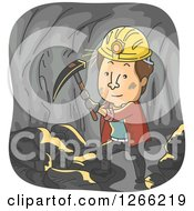 Clipart Of A Brunette White Man Working In A Coal Mine Royalty Free Vector Illustration
