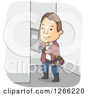 Clipart Of A Brunette White Male Electrician Working On A Fuse Box Royalty Free Vector Illustration