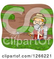Clipart Of A Red Haired White Man Spraying Pesticides In His Garden Royalty Free Vector Illustration