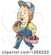 Clipart Of A Happy Brunette White Man Carrying Rope And A Tool Box Royalty Free Vector Illustration