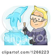 Clipart Of A Blond Whit Eman Creating A Dolphin Ice Sculpture Royalty Free Vector Illustration by BNP Design Studio