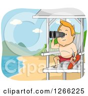 Clipart Of A Red Haired White Male Lifeguard Using Binoculars At A Beach Royalty Free Vector Illustration