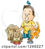 Clipart Of A Happy Brunette Male Petsitter With A Bird Cat And Dog Royalty Free Vector Illustration