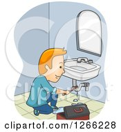 Clipart Of A Red Haired Male Plumber Fixing A Sink Royalty Free Vector Illustration