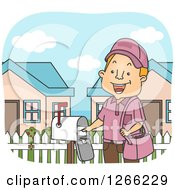 Clipart Of A Happy Red Haired White Mailman Putting An Envelope In A Box Royalty Free Vector Illustration