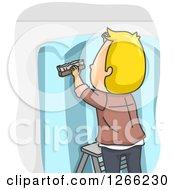 Blond White Male Wallpaper Installer