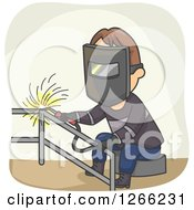 Clipart Of A Brunette White Male Welder Working On Railing Royalty Free Vector Illustration