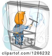 Clipart Of A Red Haired White Male Window Washer Suspended Beside A Building Royalty Free Vector Illustration by BNP Design Studio