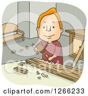 Clipart Of A Happy Red Haired White Man Carving Wood Royalty Free Vector Illustration