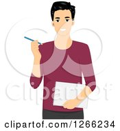 Clipart Of A Young Asian Designer Man Holding A Notebook And Pencil Royalty Free Vector Illustration