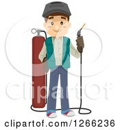 Clipart Of A Happy White Man Holding A Cutting Torch Tool Royalty Free Vector Illustration