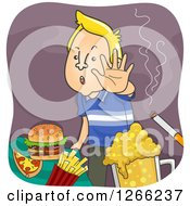 Clipart Of A Blond White Man Refusing Junk Food Or Unhealthy Vices Royalty Free Vector Illustration by BNP Design Studio