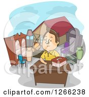 Clipart Of A Brunette White Man Selling Properties Royalty Free Vector Illustration