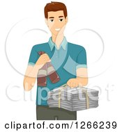 Clipart Of A Brunette White Man Holding Recycle Items Royalty Free Vector Illustration by BNP Design Studio