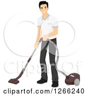 Clipart Of A Young Asian Man Vacuuming Royalty Free Vector Illustration