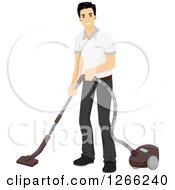Young Asian Man Vacuuming