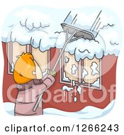 Clipart Of A Red Haired White Man Shoveling Snow Off Of His Roof Royalty Free Vector Illustration by BNP Design Studio