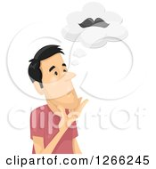 Clipart Of An Asian Man Thinking About Growing A Mustache Royalty Free Vector Illustration
