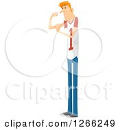Clipart Of A Scrawny Red Haired White Man Trying To Flex His Biceps Royalty Free Vector Illustration