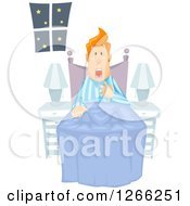 Clipart Of A Red Haired White Man Waking Up From A Nightmare Royalty Free Vector Illustration