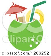 Clipart Of A Coconut Cocktail Royalty Free Vector Illustration