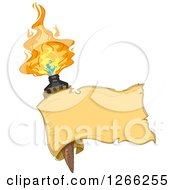 Clipart Of A Blank Ribbon Banner Over A Tiki Torche Royalty Free Vector Illustration