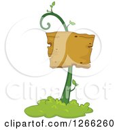 Clipart Of A Wooden Sign On A Vine Royalty Free Vector Illustration