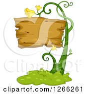 Clipart Of A Wooden Sign On A Flowering Vine Royalty Free Vector Illustration