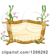 Clipart Of A Wooden Sign Suspended From Floral Vines Royalty Free Vector Illustration