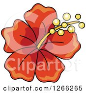 Clipart Of A Red Hibiscus Flower Royalty Free Vector Illustration