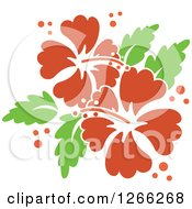 Clipart Of Red Hibiscus Flowers With Bubbles And Green Leaves Royalty Free Vector Illustration