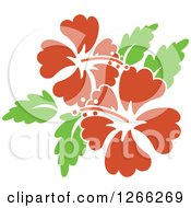 Clipart Of Red Hibiscus Flowers And Green Leaves Royalty Free Vector Illustration